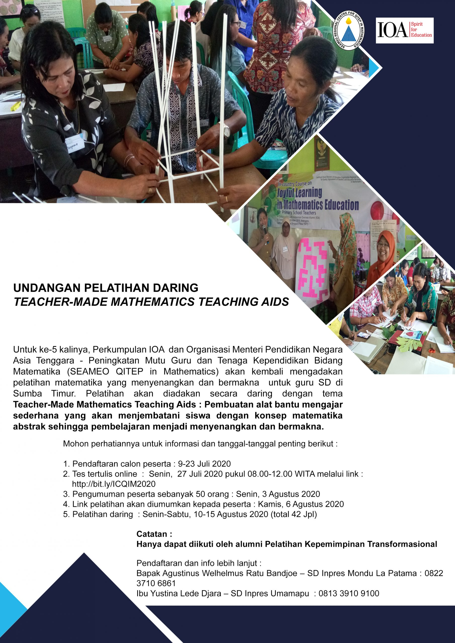 PELATIHAN DARING UNTUK GURU SUMBA TIMUR : TEACHER-MADE MATHEMATICS TEACHING AIDS, 10-15 AGUSTUS 2020